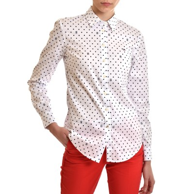 Tommy Hilfiger Shirt All Over Patterned Dots Slim Fit Stretch-Polka Dot/Optic White