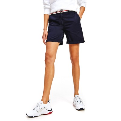 Tommy Hilfiger Shorts Chinos With Signature Belt CO Tencel-Desert Sky