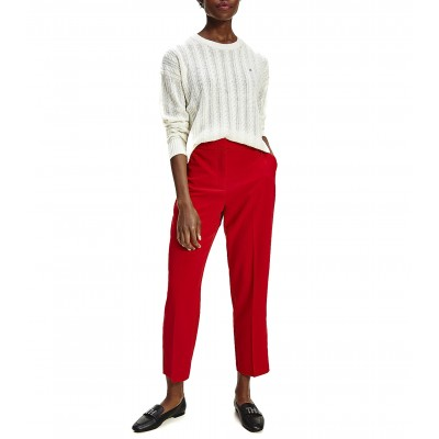 Tommy Hilfiger Pants Ankle Tarered Fluid Twill-Primary Red