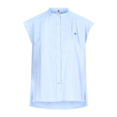 Tommy Hilfiger Shirt Relaxed Fit Cap Sleeve Oxford-Breezy Blue
