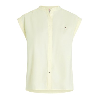 Tommy Hilfiger Shirt Relaxed Fit Cap Sleeve Oxford-Frosted Lemon