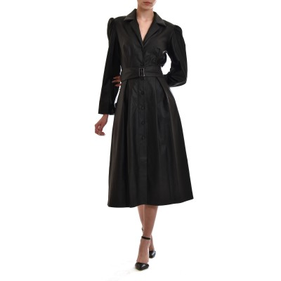 Zazu Dress Midi Belted Faux Leather-Black