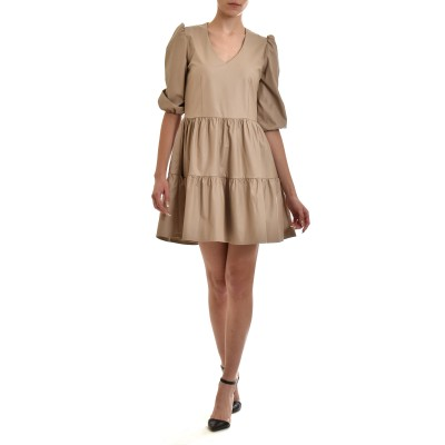 Zazu Dress Frill Faux Leather-Puro/Nude