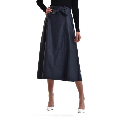 Zazu Skirt Belted With Seams Faux Leather-Blue