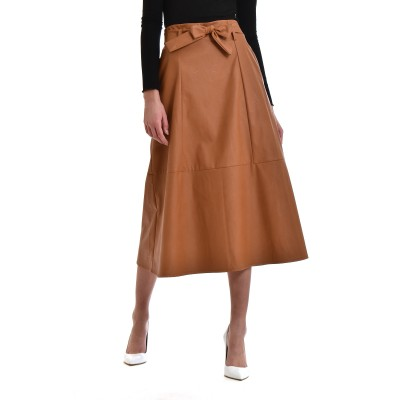 Zazu Skirt Belted With Seams Faux Leather-Camel